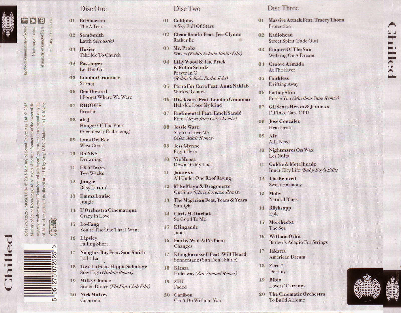 VA. - Ministry Of Sound - CHILLED (2015) 3CDs [MEGA