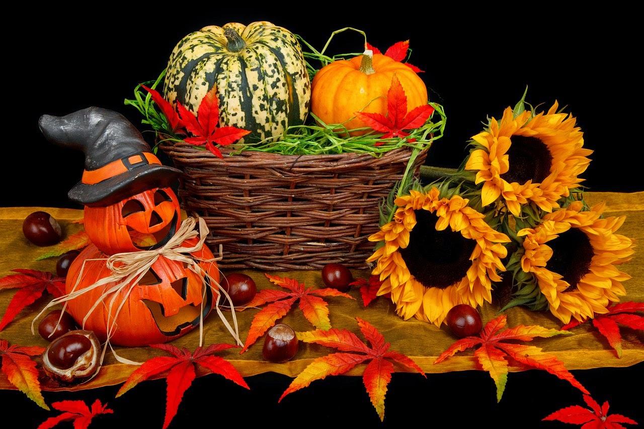 Halloween Decorations: Jack-o-Lantern Man, basket of squashes, flowers