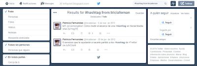 Resultados de búsqueda de una hashtag en Twitter
