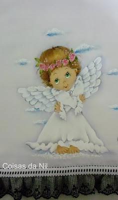 """""""fralda manta com pintura de anjinha"""""""