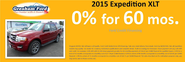 2015 Expedition XLT 0% for 60 months at Gresham Ford