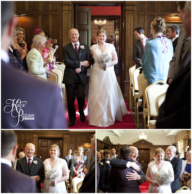 walking down the aisle, bridal entrance, ellingham hall, ellingham hall wedding, northumberland wedding photographer, newcastle wedding photographer, ceremony signs, paper pom poms, quirky wedding photography, katie byram photography, diy wedding