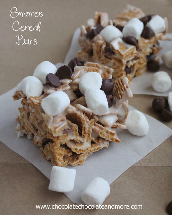 mores Cereal Bars by Chocolate, Chocolate and More