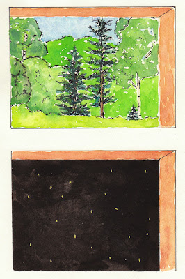 fireflies at the cabin artist journal drawing