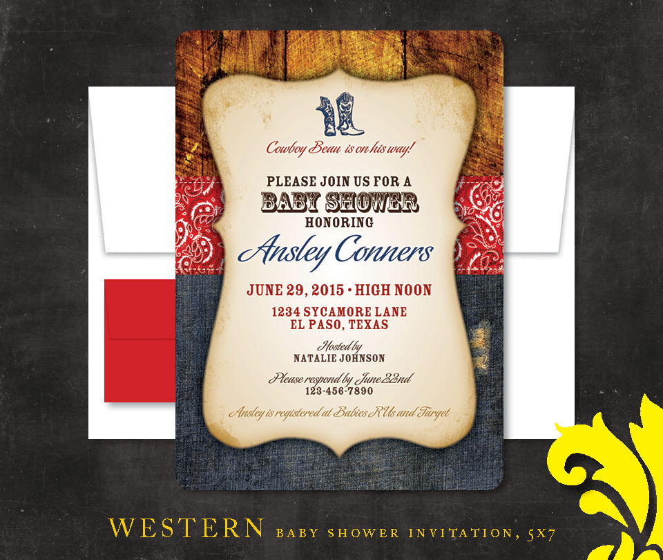 nealon design western cowboy baby shower invitation
