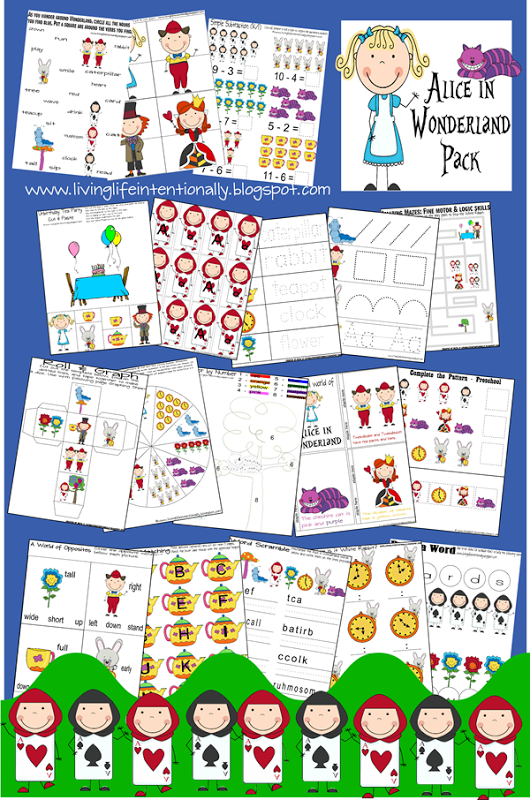 Free disney inspired learning printable packs activities for Alice in wonderland crafts