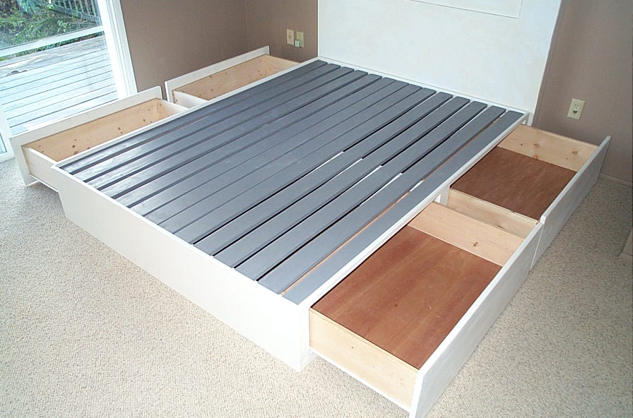 This is a king size box frame made with painted pine. It has four 35 ...