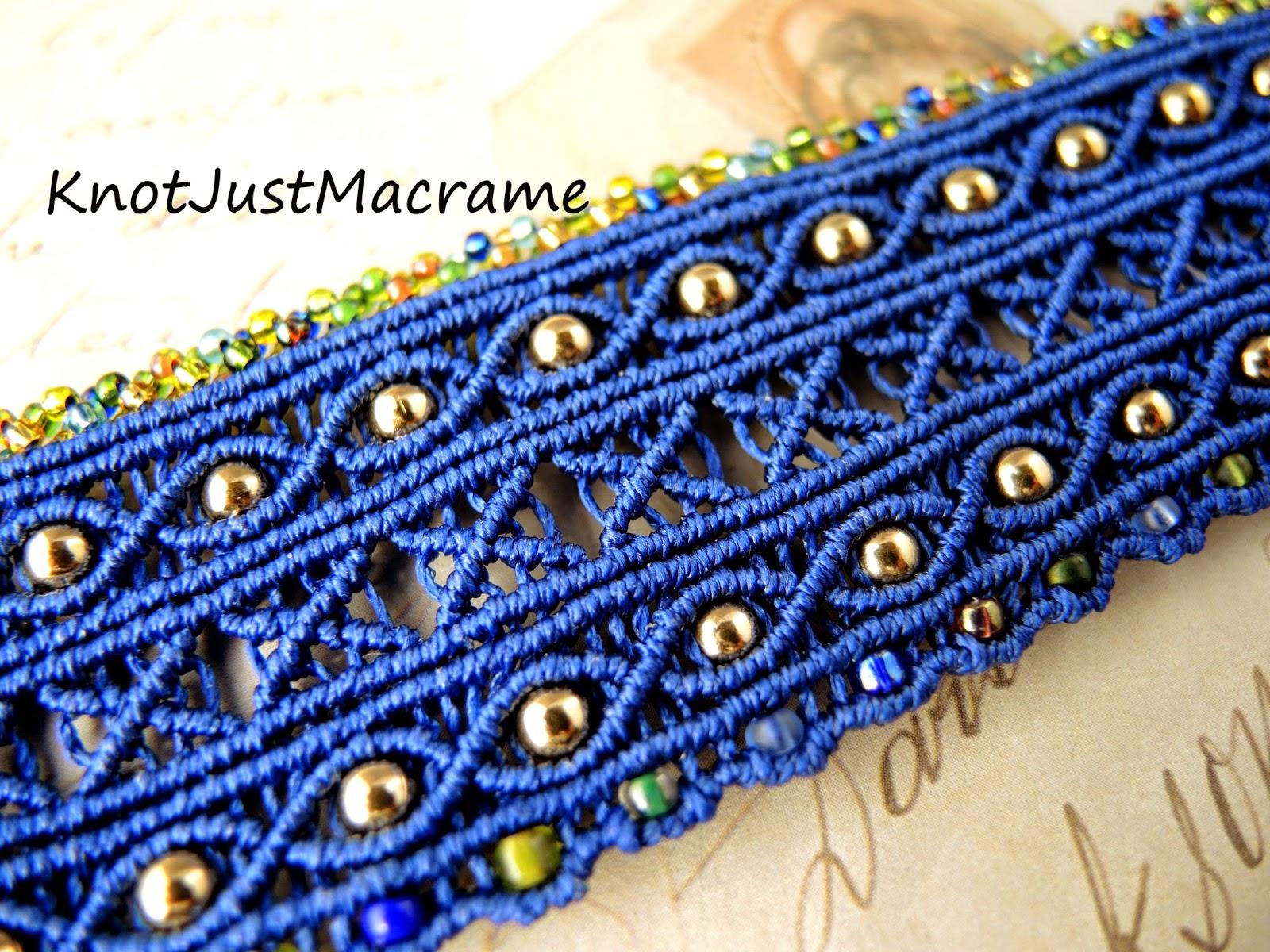 Argus micro macrame cuff in blue by Sherri Stokey