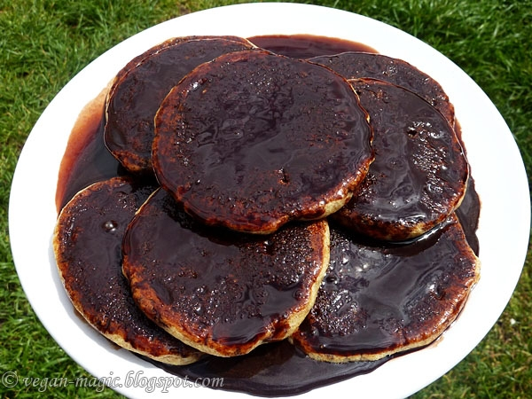 Whole Wheat Orange Pancakes with Chocolate Sauce