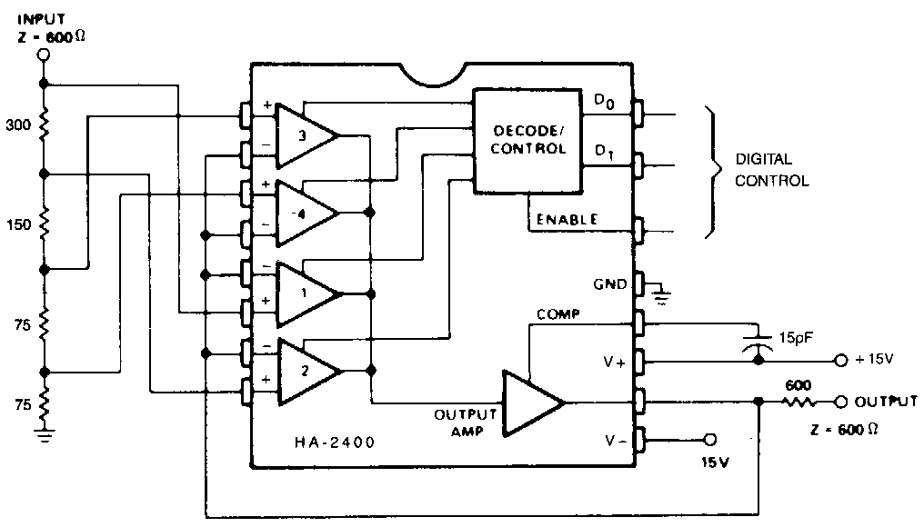 simple programmable attenuator circuit