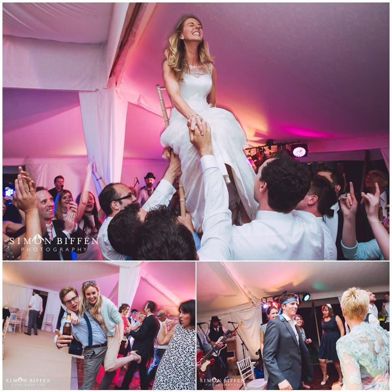 Bride lifted up on chair