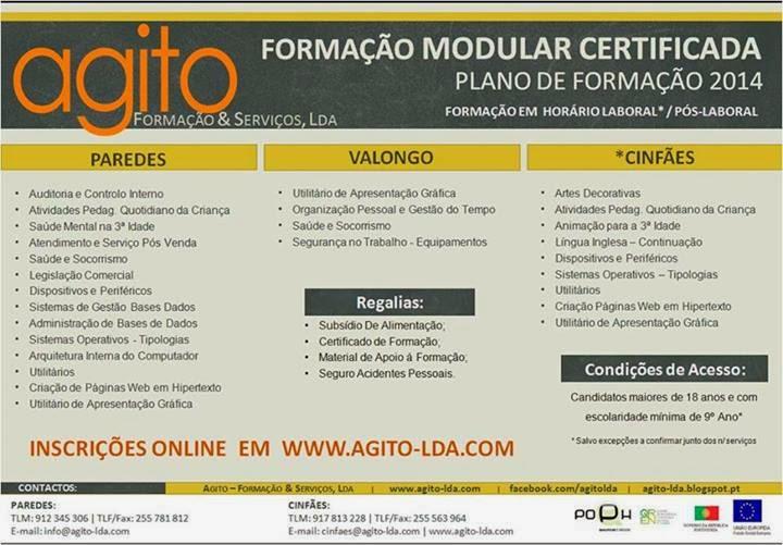 Plano de formação da AGITO para 2014 – Paredes, Cinfães e Valongo