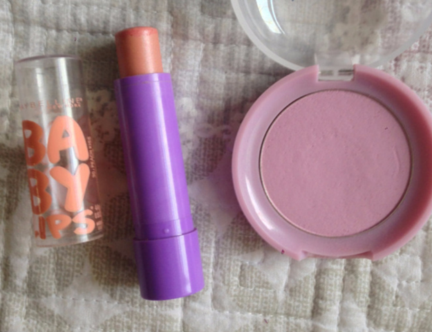 Etude House Lovely Cookie Blusher in #8 Blueberry Pie Maybelline Baby Lips Peach Kiss