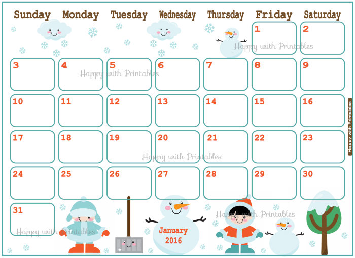 January 2016, 2016 Planner, planner for kids, calendar, cute calendar ...