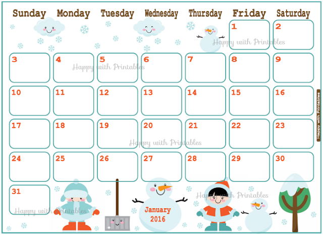January 2016, 2016 Planner, planner for kids, calendar, cute calendar, Etsy Shop, Happy with printables, kawaii, printables, snowman planner,