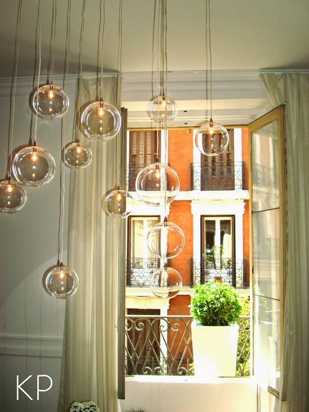 Lampara de techo de burbujas de cristal