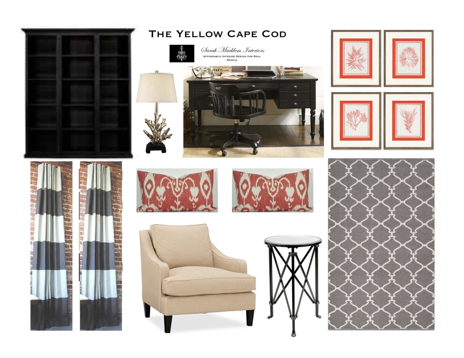 The Yellow Cape Cod: Refined Coastal Style~Gray,White and Coral