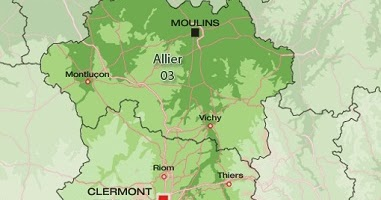 Carte de l'Auvergne Departement   Carte France Département Région