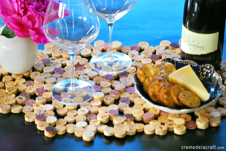 Crafting on a budget diy cork tile placemat from wine corks - What to make with wine corks ...