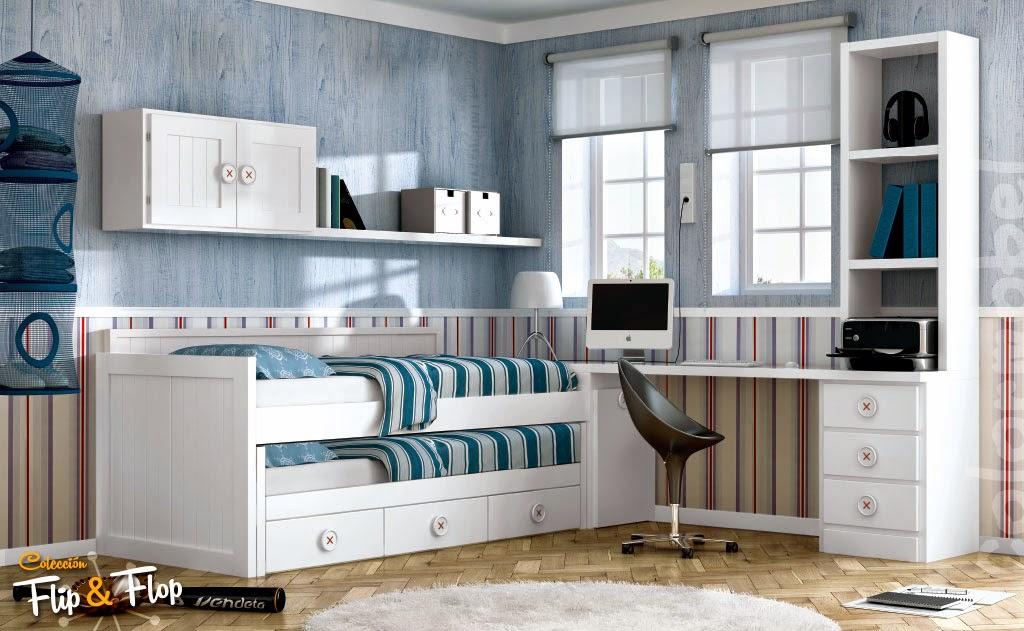Habitaci n de estudio con cama abatible vertical - Fotos habitacion juvenil ...