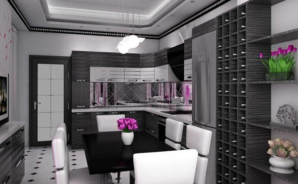 Ruang Makan dengan Tema Warna Hitam Modern