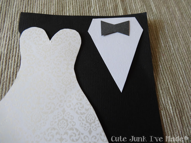 Homemade Wedding Card - bowtie piece on shirt close up
