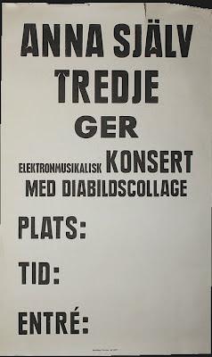 El cartel utilizado por Anna Själv Tredje en la gira por Suecia de Tussilago Fanfara en 1977