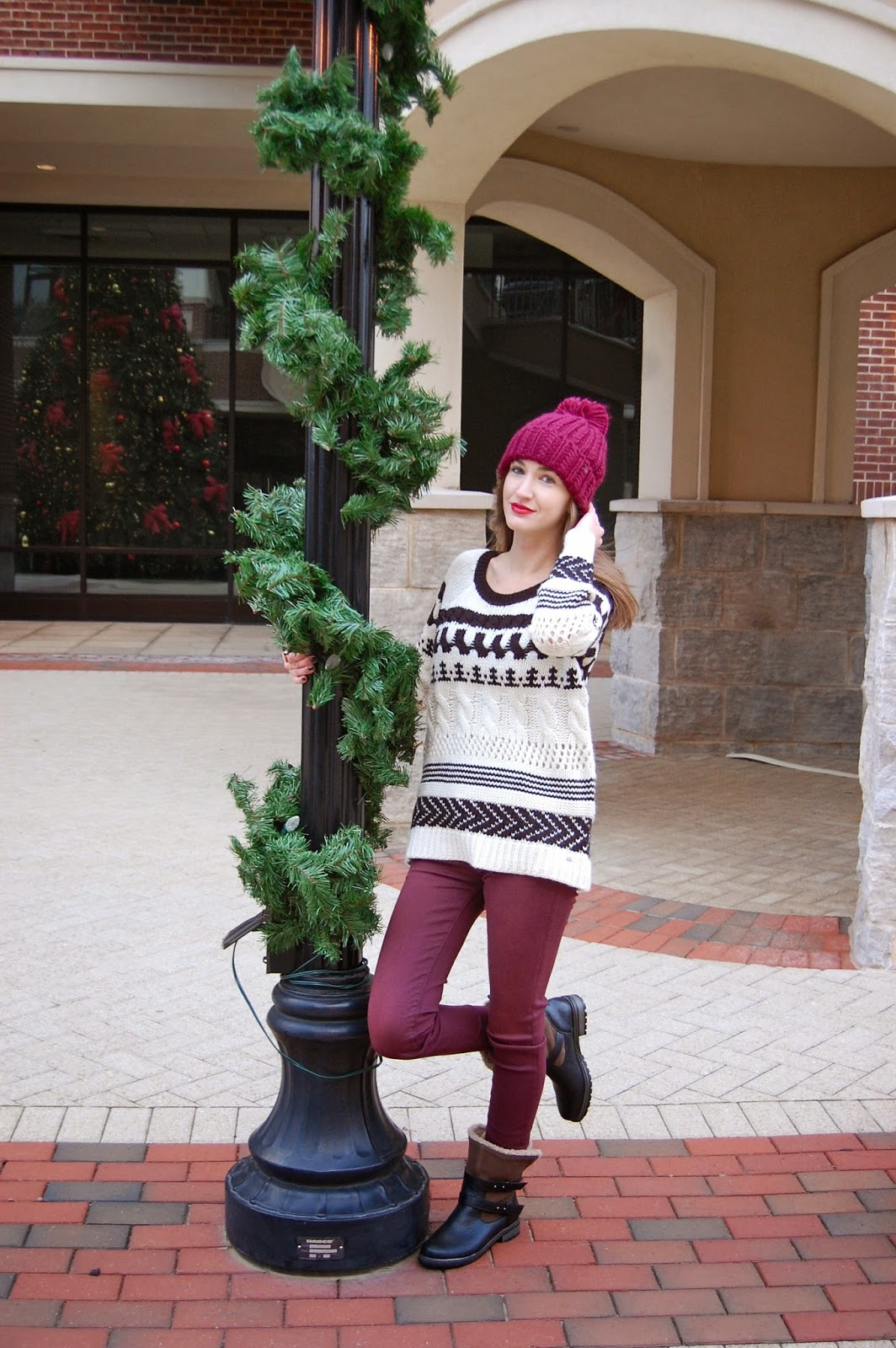 #aeostyle, Wearing american eagle mixed knit crew sweater, winter sweater look, American Eagle X-Hi Rise Jeggings
