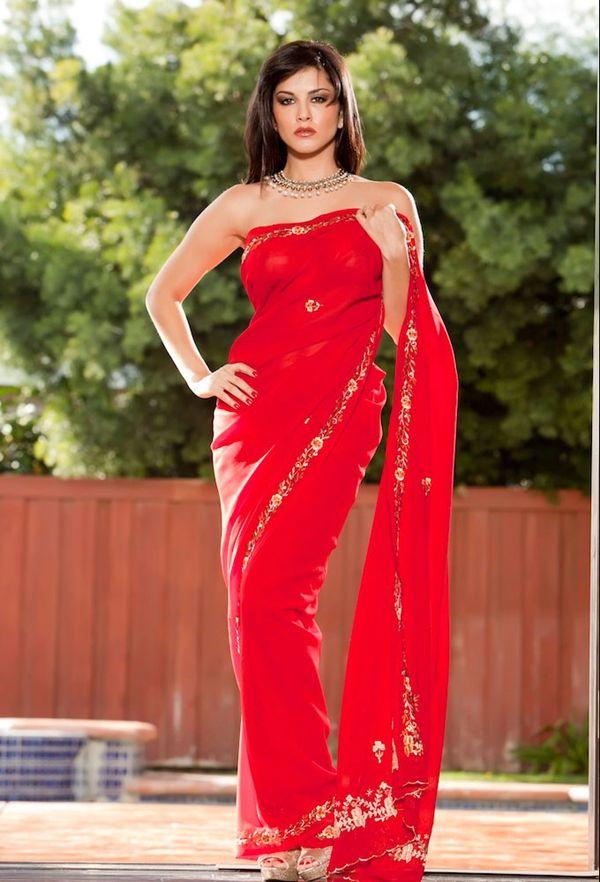 sunny leone red hot saree pics i n jism 2
