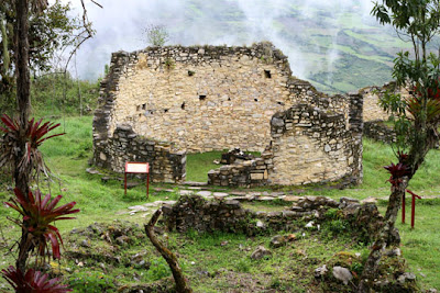 Chachapoyas & Kuelap, Peru - Ruins of one of the 420 round houses inside Kuelap, Peru