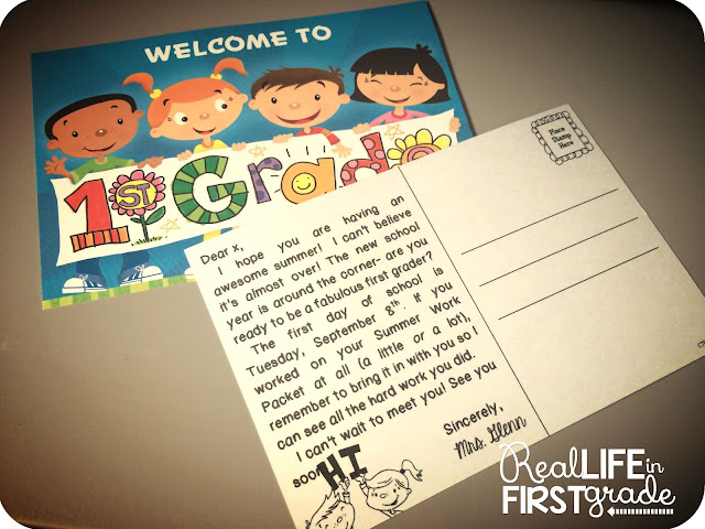 Real Life in First Grade: Post Cards Ready for New Students!