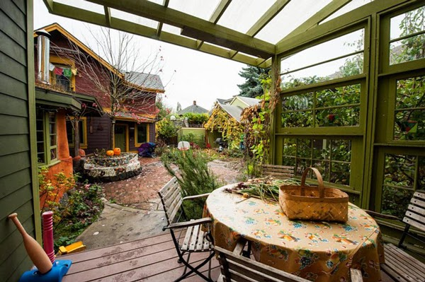 colorful houses in co-housing in portland