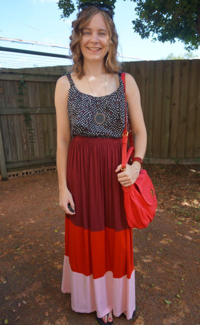Polka Dot Cami Colour Block Stripe Maxi Skirt MbMJ red bag