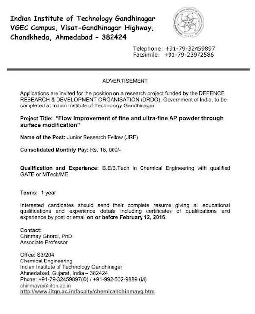 IIT Gandhinagar JRF Recruitment 2016