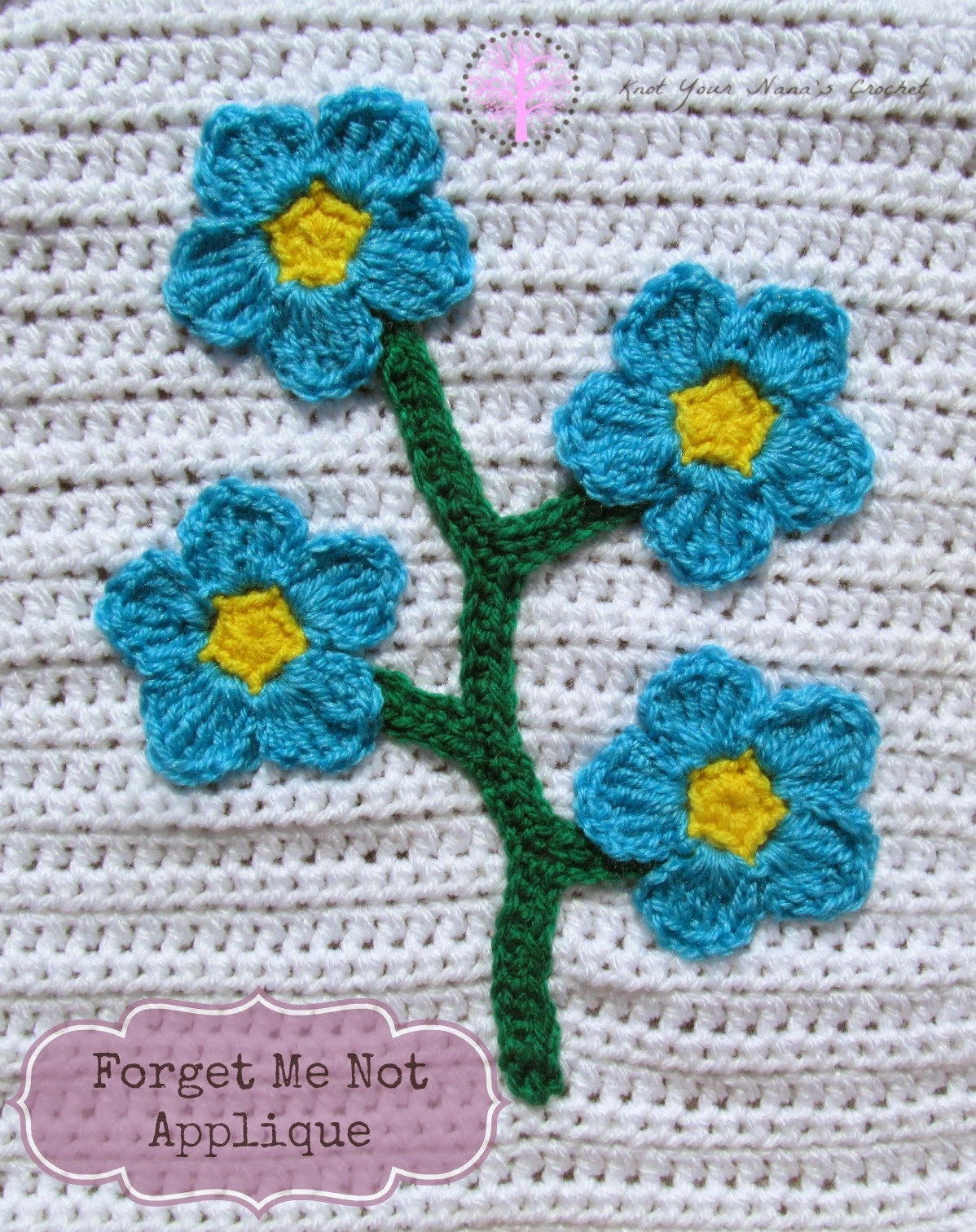 Crochet Forget Me Not Applique