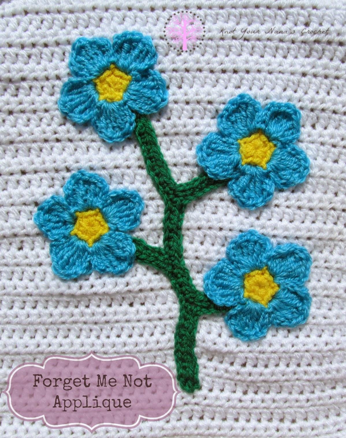 Crochet Forget Me Not Applique