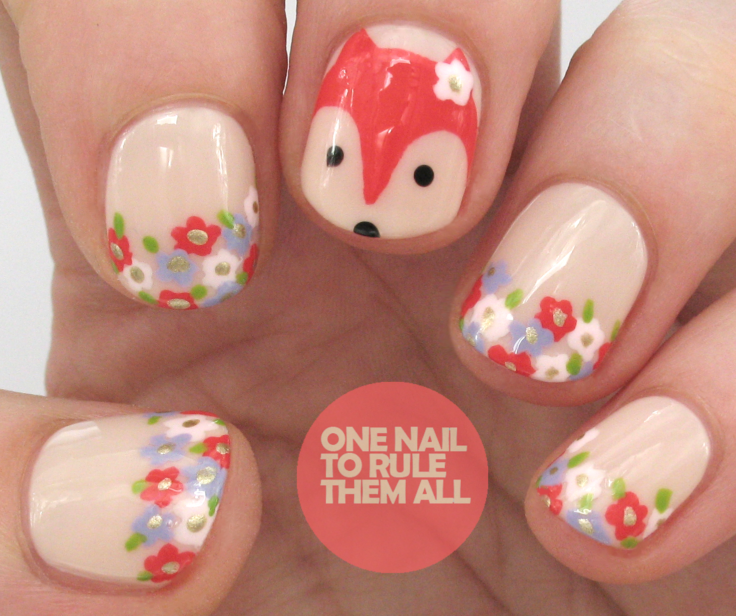Fox Nail Designs: One Nail To Rule Them All: Tutorial Tuesday: Floral Foxes