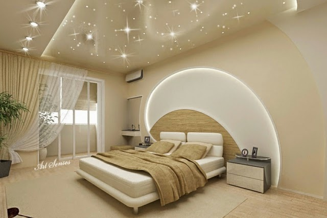 POP False Ceiling Designs For Bedroom LED Lights Wall Pop Design