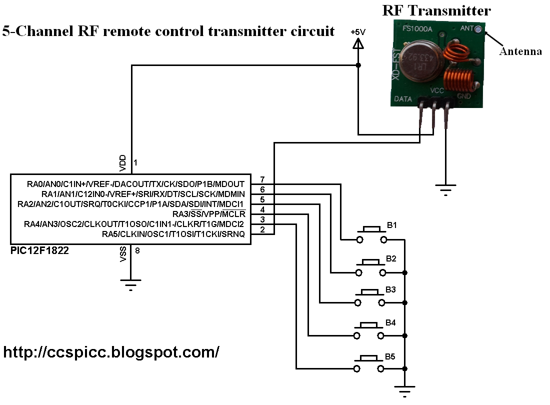 433mhz Transmitter Circuit Schematic Wiring And Diagram Hub Infrared Radio Frequency Rf Receiver Using 9v