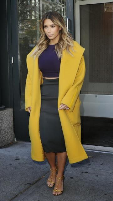 Kim Kardashian yellow coat