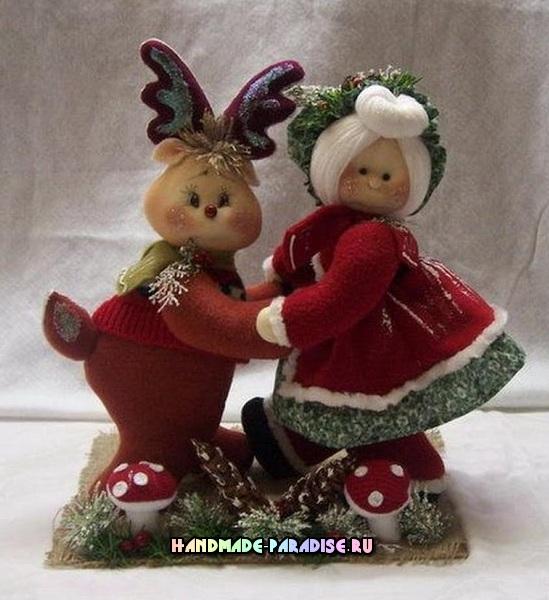 Выкройка рождественского оленя с подружкой