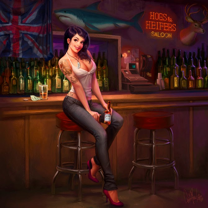 illustration de Will Murai représentant une pin-up asise à un bar