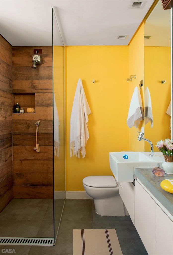 12 Banheiros e lavabos com porcelanato que imita madeira!!  Jeito de Casa   -> Banheiro Decorado Com Porcelanato Imitando Madeira