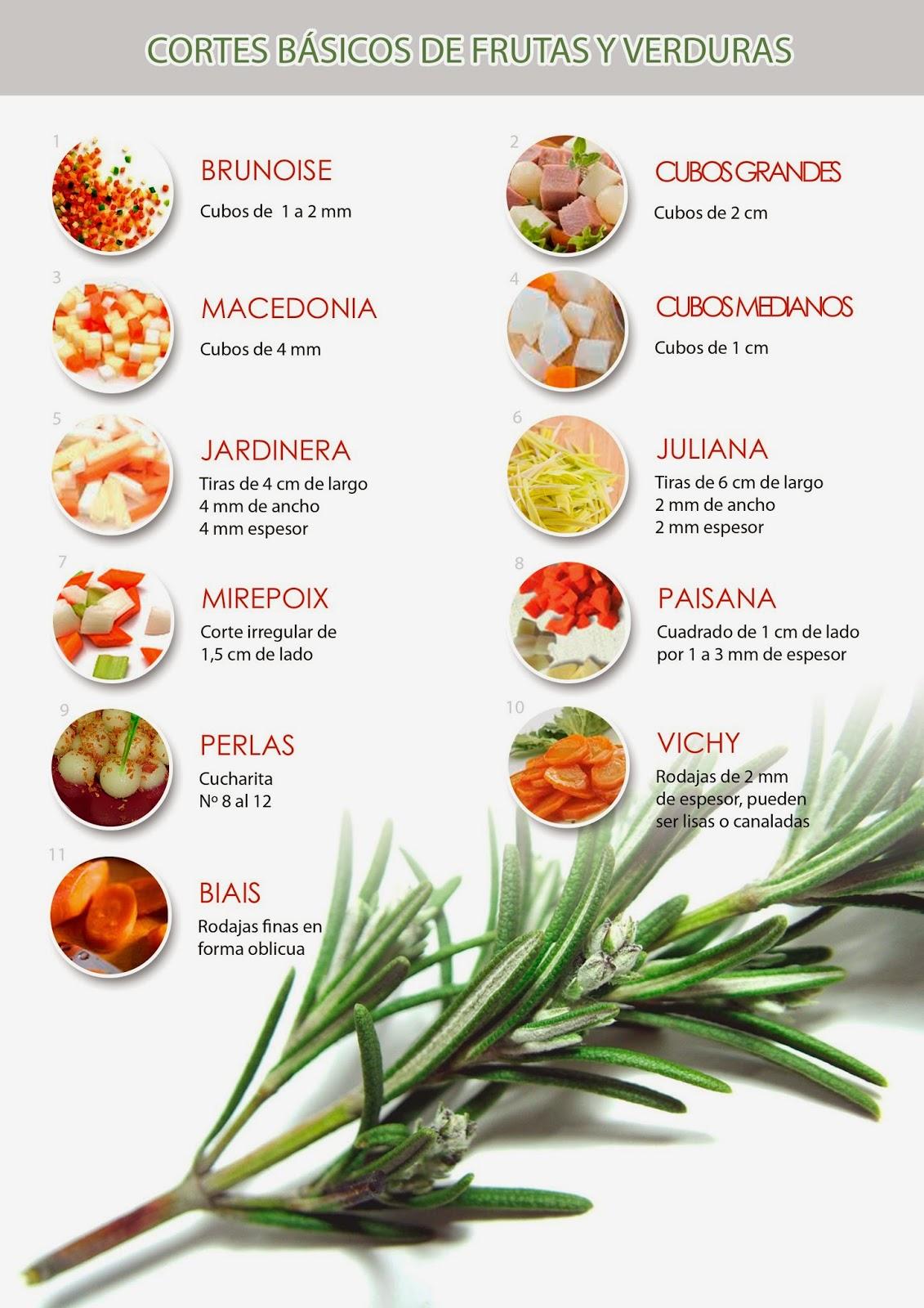 Tipos de cortes b sicos en la cocina gastronomia i for La cocina de los alimentos pdf
