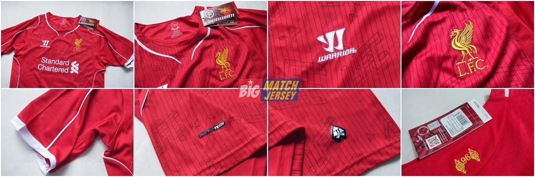 Detail Kaos Bola Jersey Liverpool Home Terbaru untuk Musim 2014 - 2015