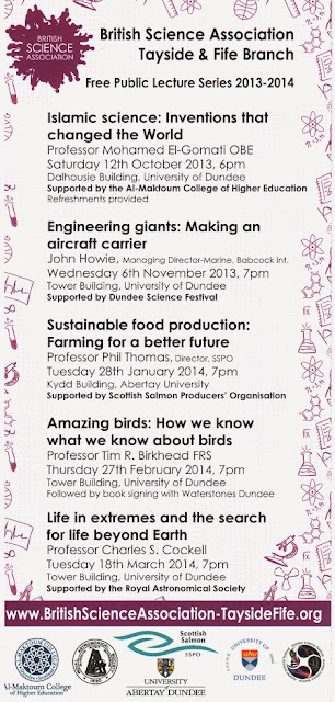 Tayside and Fife Branch of the British Science Association Programme of Free Public Lectures 2013-14