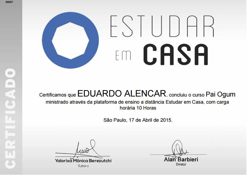 "Certificado do curso: ""Pai Ogum"""