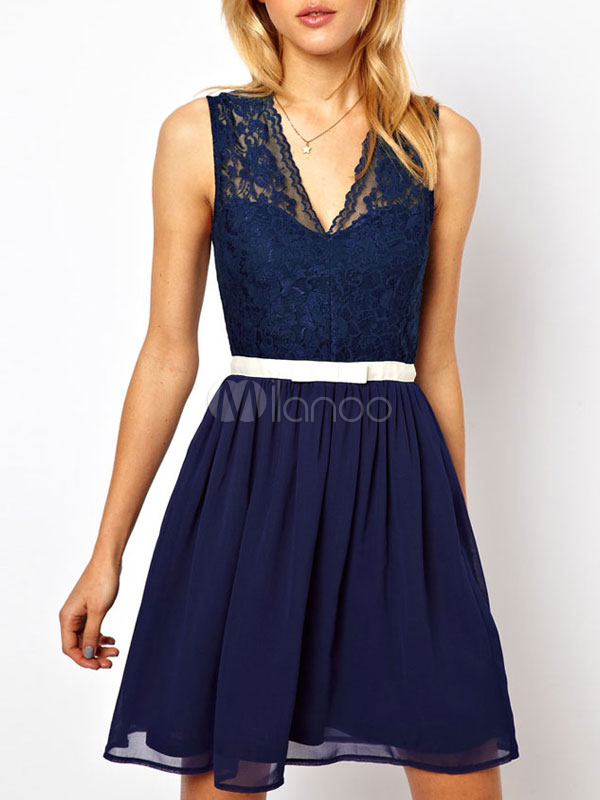 Stylish V-Neck Sash Lace Polyester Short Dress