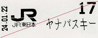 JR東日本 ヤナバスキー場前駅 乗車整理券