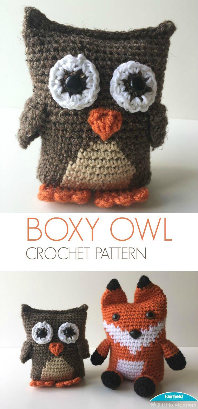 Little Owl Free Crochet Pattern : 5 Little Monsters: Boxy Owl Amigurumi